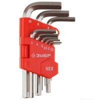 """Набор ЗУБР Ключи """"МАСТЕР"""" имбусовые короткие, Cr-V, сатинированное покрытие, пластик. держатель, HEX 1,5-10 мм, 9 пред (27460-1)"""